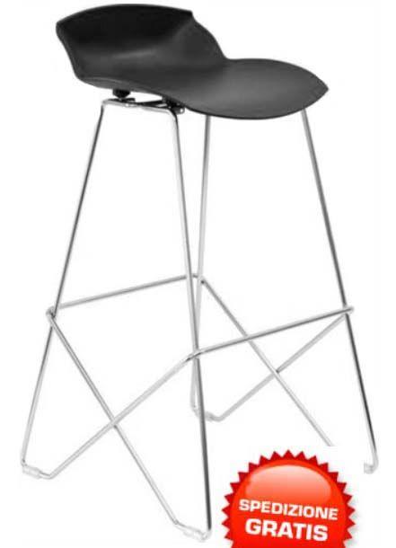 Sgabelli alti neri (2 pz). Sgabelli di design in acciaio cromato e seduta in poliammide nera. Confezione 2 pezzi.