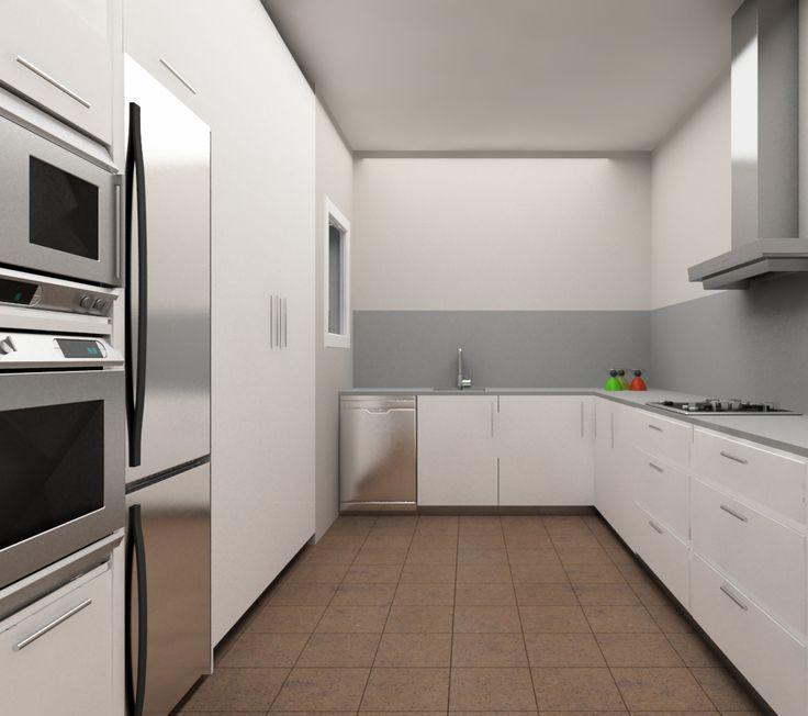 Para la reforma de #cocinas se redistribuirán las superficies en forma de L a través de la pared. El espacio central quedará liberalizado. #interiorismo #barcelona