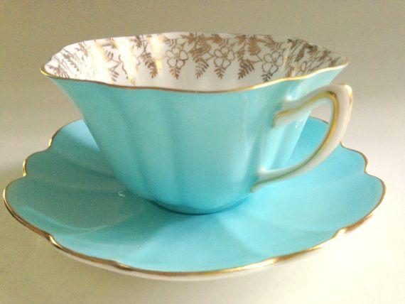 Shelley Tea Cup and Saucer, Shelley Stratford Shape, Antique Teacups English Tea Cups, Tea Set, Shelley Cups, Bone China Cups, Aqua Cups