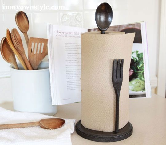 DIY Paper Towel Holder makes use of recycled wooden kitchen utensils (@ In My Own Style) Going to make this for my new kitchen!!!!!