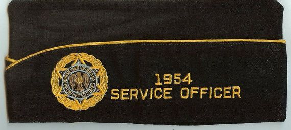 1950's Hat 50's Military Hat Jewish War Veteran Service Officer Fall River 168 Cap Hat 9-16
