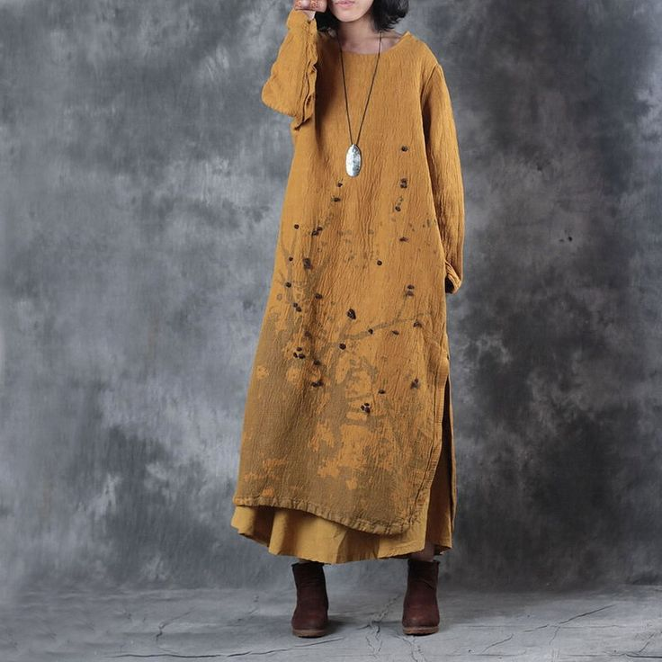 Chinese Style Plum Blossom Loose Linen Clothing Fur Balls Winter Vintage Dress 1