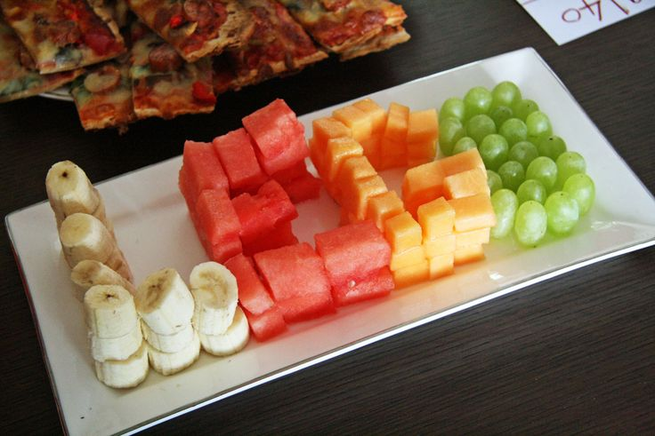 Simple way to incorporate a fruit platter into a lego party