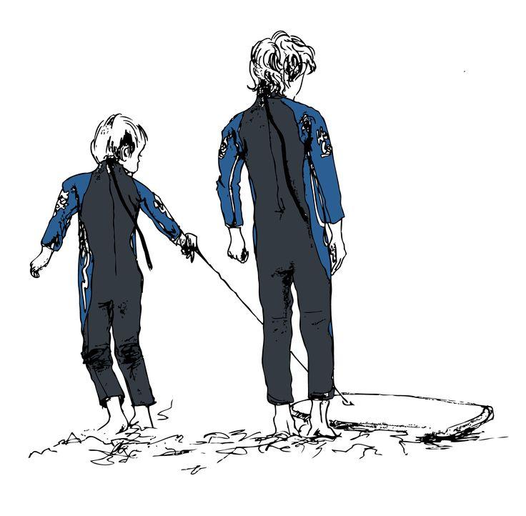 Boys Bodyboarding Graphic Illustration