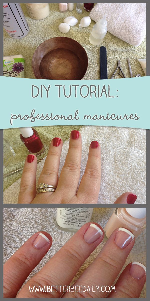 How to give yourself a professional manicure at home, including techniques for a streak-free paint, and easy French tips!