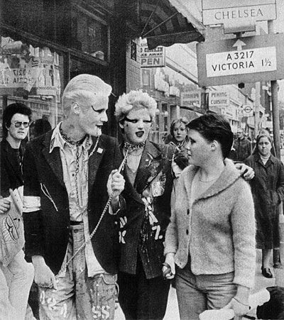 Punks on the Kings Road, Chelsea, London - late '70s.