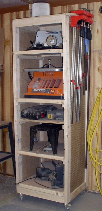 Diy power tool storage cabinet woodworking projects plans