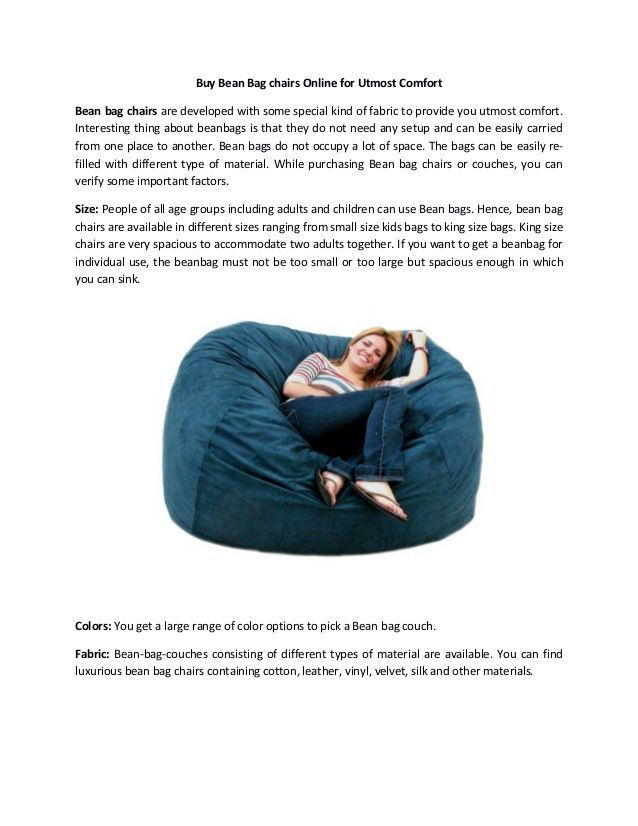 ▅ ▆★★ Buy #Bean #Bag chairs Online for Utmost Comfort ★★▆ ▅  You can order for a bean bag chair that exactly match your requirements and collect it at your door step from Woodini.