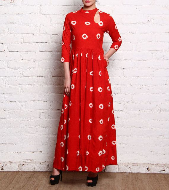 Hand tie-dyed cotton maxi dress Indian Bandhani by WorldOfHachi