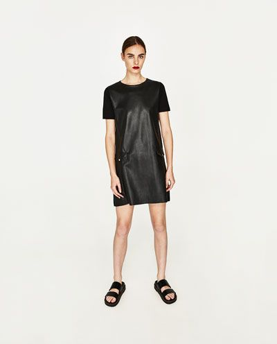 FAUX LEATHER DRESS WITH POCKETS