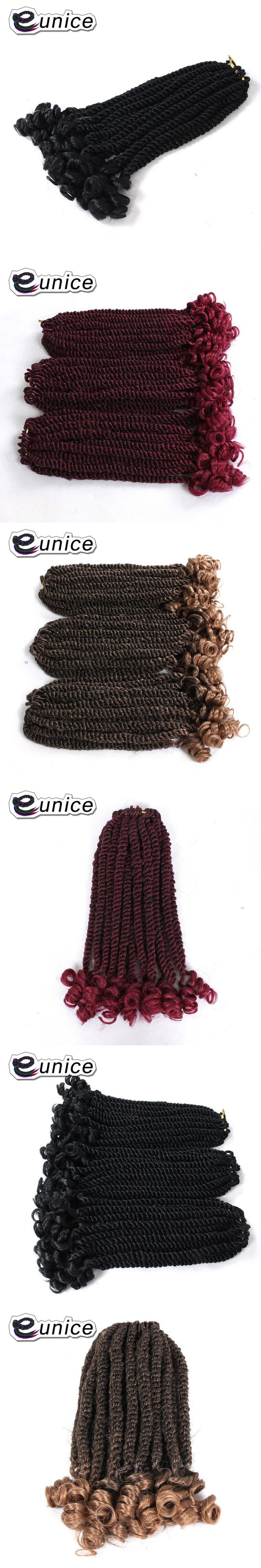 Eunice 12inch Havana Twist Braids 3colors Available Synthetic Hair Extension Ombre BUG Braiding Hair High Temperature Fiber
