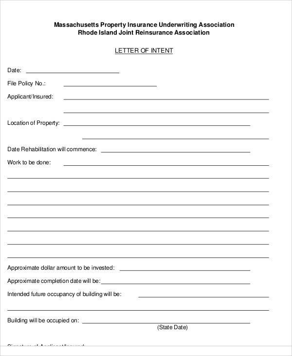 insurance letter intent examples printable sample template form real estate forms