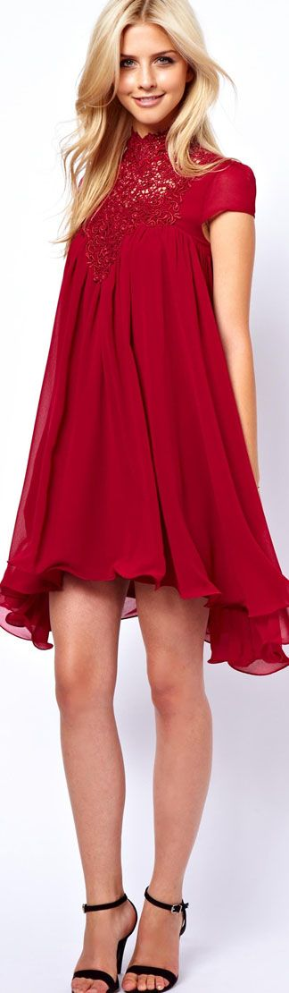 Lydia Bright Swing Dress With Lace Neck #red #dress <3 you would need to be a twig to pull this off