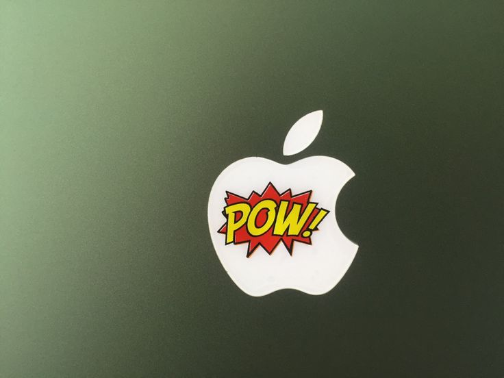 POW Comic Book Decal Glowing Backlit Apple Logo for MacBooks 2 Decals per Order by WallMac on Etsy