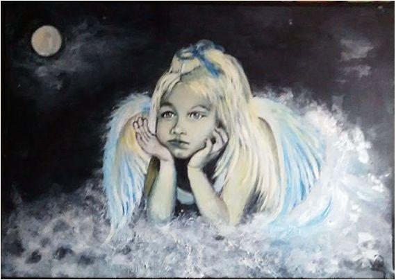 TABLEAU PEINTURE ange fillette enfant Personnages Acrylique - Mon Ange https://www.facebook.com ...