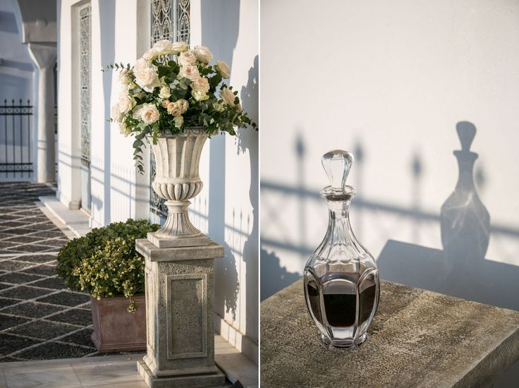 Church decoration: rustic white stone amphora with garden roses and wild greenery!