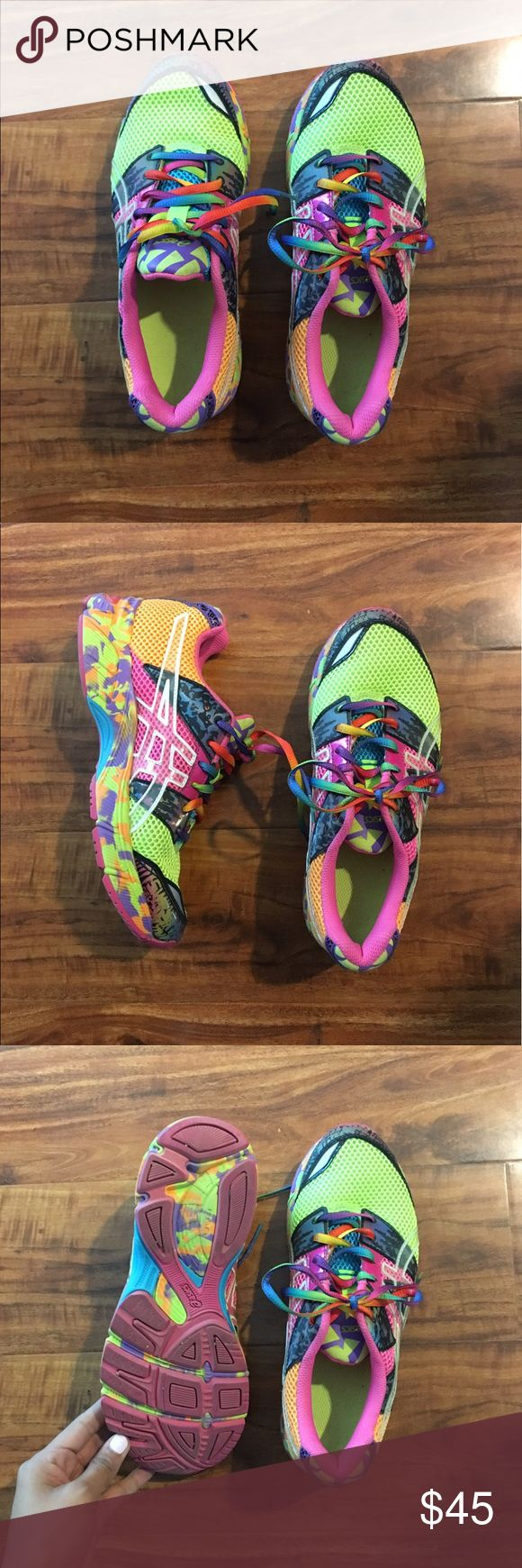 Asics - Neon Running Shoes Sz 51/2 or 7 women's These eye catching shoes are so great for long distance runs because they're comfortable and cute. They are a size 5 1/2 in children's which translates to a 7 in women's. Asics Shoes Sneakers