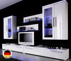 obývací stěna LEVERKUSEN - komplet bílý mat / bílý lesk