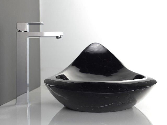 Komo   Above Counter Natural Black Marquine Solid Stone Designer Basin For  Modern Luxury Bathrooms