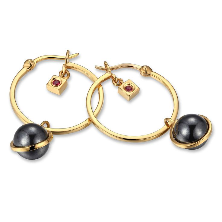 Stylish 14kt Gold Plated Sterling Silver Hematite Hoops, GRAVITY Colle – ELLE Time & Jewelry