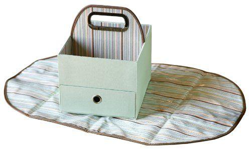 JJ Cole JDCGS/DCGS - Tragbare Wickelstation mit Wickelunterlage (Diapers und Wipes Caddy - green stripe), grün