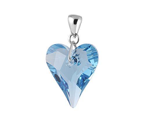 Szív alakú, kék Swarovski kristály medál