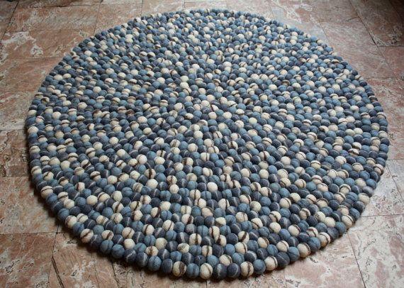 Blauwe steen kiezel vilt bal tapijten 90 cm, blauwe stenen vilt Pom Pom tapijten, ronde tapijten, voelde bal tapijt, voelde vloer tapijten, gratis verzending