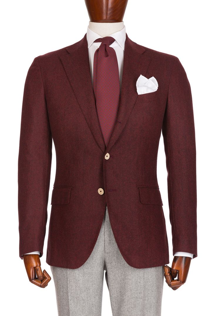 Burgundy Jacket With Light Gray Pants Men S Style Mens