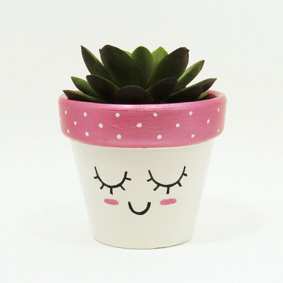 Succulent Planter Terracotta Pot Cute Face by TimberlineStudio