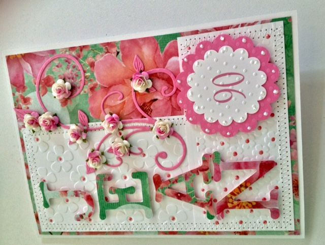 I had a special request from Mum to make a special card for a friend's 90th Birthday. I hope you enjoy it.