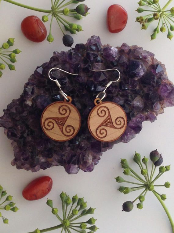 Earrings Celtic Triquetra Symbol  Round Wood by SpiralCutStudio