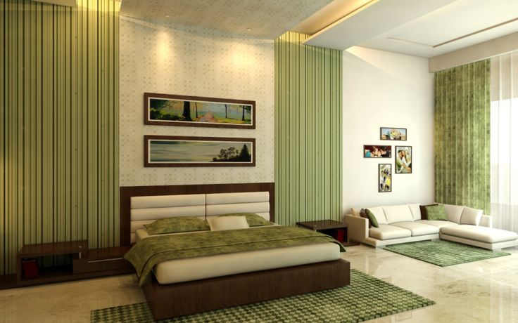 Green Bedroom. Interior Decoration Trends 2017
