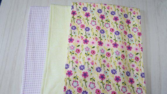 SALE Burp Cloths Flannel Terry Cloth Set of 3 Flowers Stripes Gingham 10 x 27