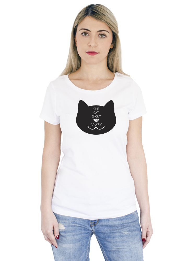 "Tricou alb din bumbac 100% cu mesajul: ""One Cat Short Of Crazy"". #tshirt #women #white #cool #cataddict #style #fashion #ootd"