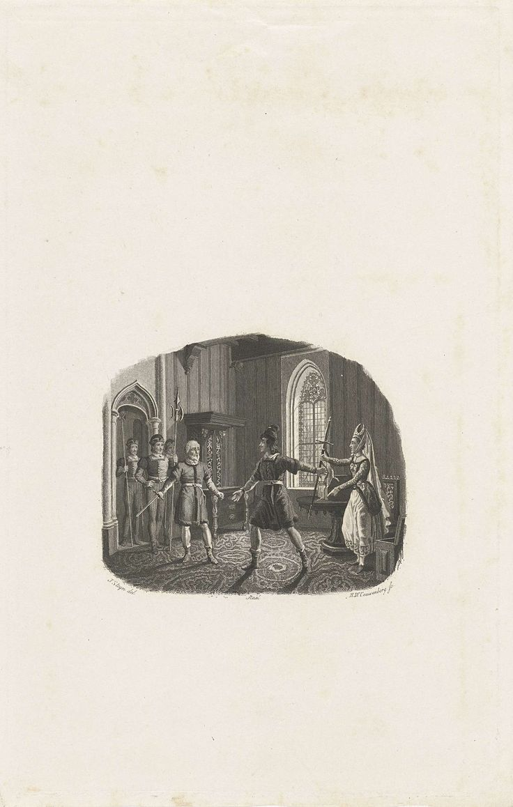 Henricus Wilhelmus Couwenberg | Vrouw reikt haar man zijn zwaard, Henricus Wilhelmus Couwenberg, 1838 | Een oude man stapt met drie mannen van een garde een gotische kamer binnen en roept de huisheer op om met hem mee te gaan. De vrouw reikt de man haastig zijn zwaard.