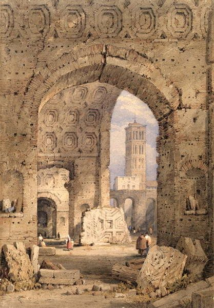 Temple of Peace, Roman Forum, 1825-50 by Samuel Prout
