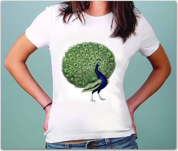 Peafowl - Womens  Casual T - shirt - American Apparel Shirt - S M L XL