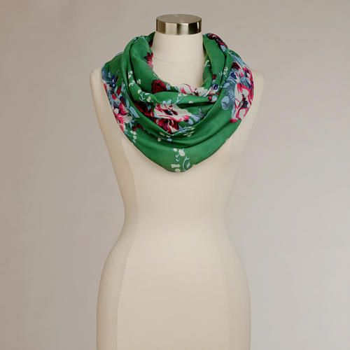 One of my favorite discoveries at WorldMarket.com: Green Floral Infinity Scarf (Shaunie-there are a ton of interesting scarves at world market so check out their website!)