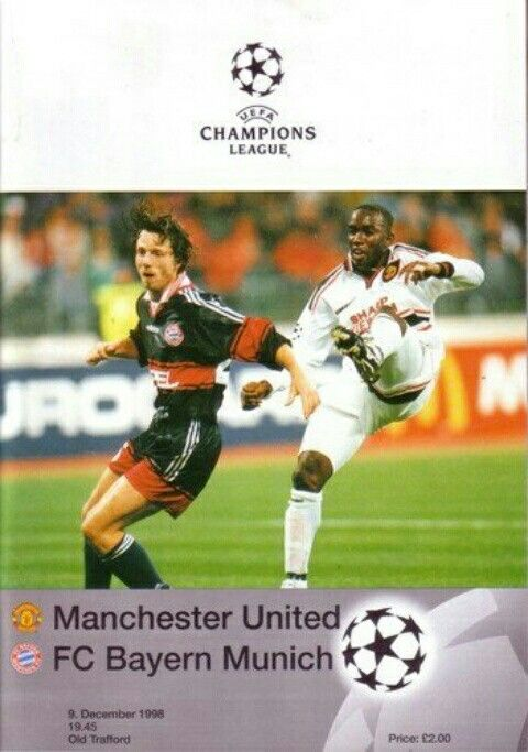 Man Utd 1 Bayern Munich 1 in Dec 1998 at Old Trafford. The programme cover for the Champions League, Group D tie.