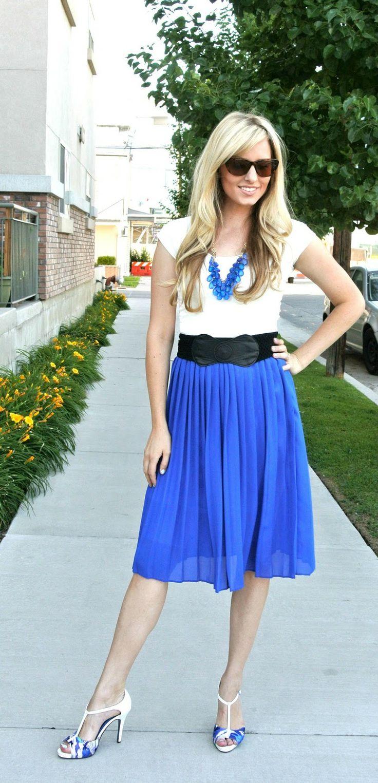 Pleated Skirt Outfit Idea #2. Wear a lighter pleated midi ...