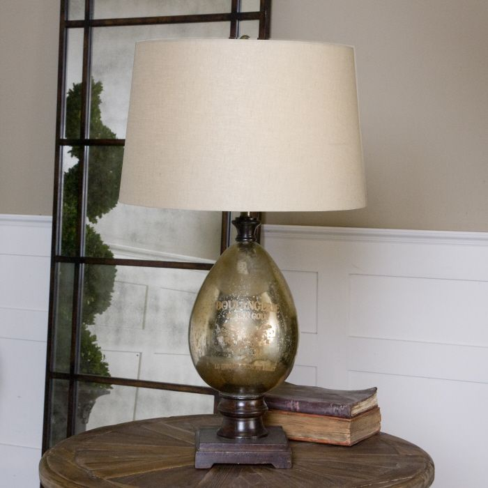 Uttermost Boulangerie Lamp Antiqued Mercury Glass With Distressed Script And Aged Mango Wood Details