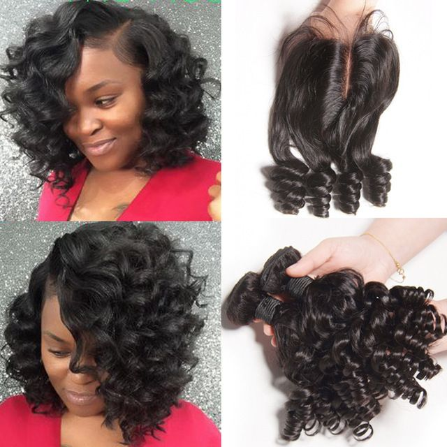 Say Me 3 Bundle Deals Bouncy Curly Human Hair Weave Bundles With Closure Funmi Peruvian Hair B Human Hair Lace Wigs Peruvian Hair Bundles Curly Human Hair Wigs