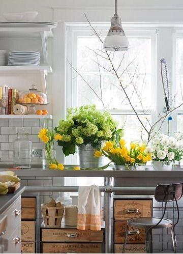 Decor, Open Shelves, Wine Crates, Subway Tile, Kitchens Ideas, Interiors Design, Fresh Flowers, Wine Boxes, Stainless Steel