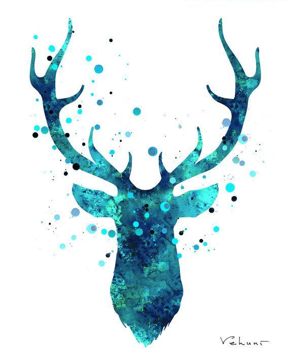 Deer Head 2  Blue  Original Painting on Canvas by FluidDiamondArt, $12.00