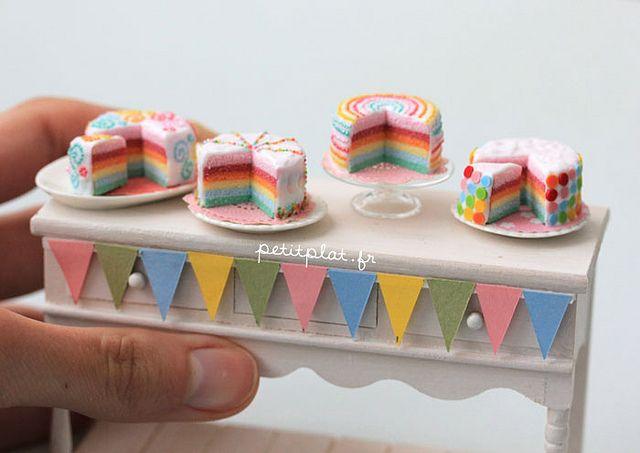 Miniature Cake - Pastel Rainbow CMiniature Food - Pastel Rainbow Cakeake by PetitPlat - Stephanie Kilgast, via Flickr