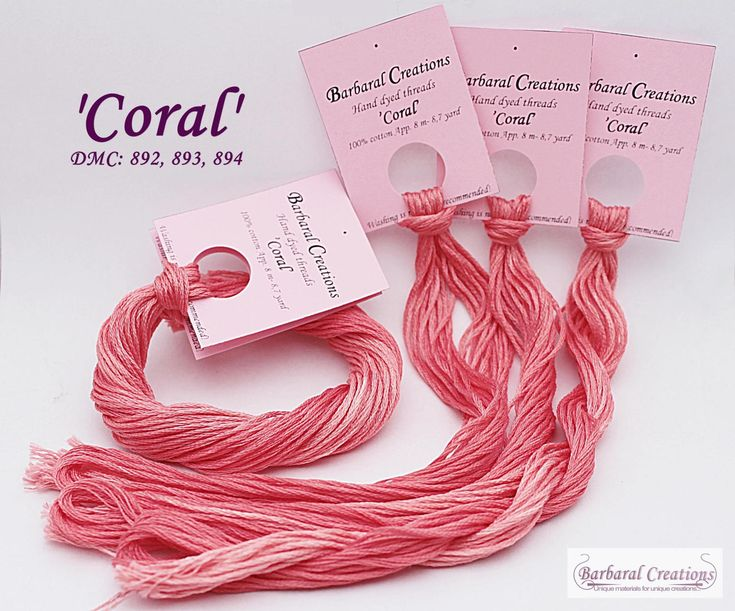 Hand dyed cotton thread for cross stitch, point de croix - 'Coral' by BarbaralCreations on Etsy