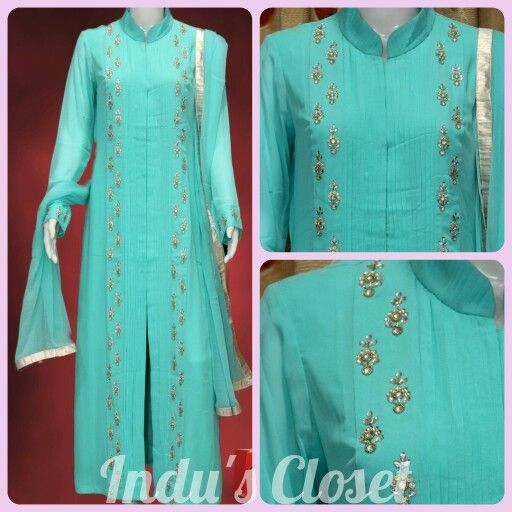 An elegant pintuck achkan suit in pure georgette  For order inbox at + 91 9977378787