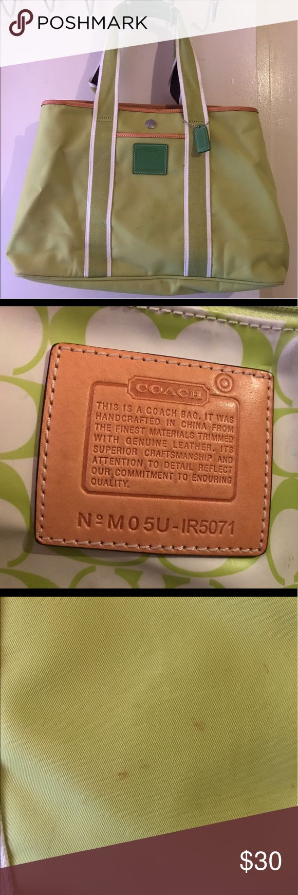 Coach Tote Great condition(2 small areas not, see photos) Comes from pet free, smoke free home. Carried bag a handful of times. Yes it's AUTHENTIC!!! It has pockets inside 1 that zips an outside pocket in front and also a zipper to close the bag. It has snaps in both sides to make the bag large or small. Coach Bags Totes