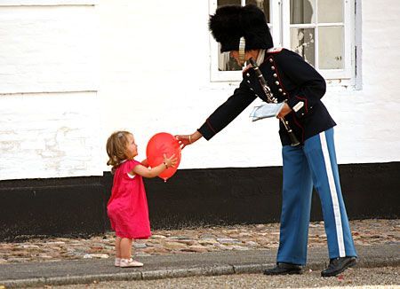 Princess Isabella of Denmark and one of the Royal Life Guards