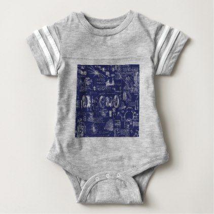 Leonardo Da Vinci's Blueprint Drawings Baby Bodysuit - drawing sketch design graphic draw personalize